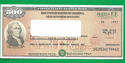 US Savings Bond CANCELED  $500.00  SAVINGS BOND SERIES EE GREEN SEAL