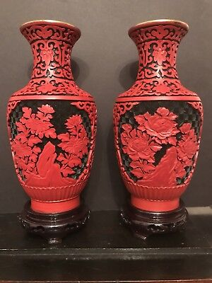 2 Vases . Chineese Laquer Cinnabar Red And Black on blue brass