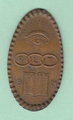 1904 Elongated Indian Cent, Odd Fellows Triple Link Holy Bible Design inv#9159