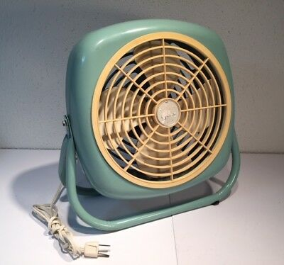 Vintage Galaxy Metal box fan 251-OCC.  Retro turquoise - great working condition