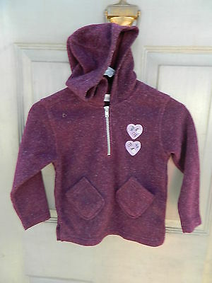 Youth Kids Cherokee 1/2 Zipper Fleece Jacket w/Hood - Purple - Size 8 - Used