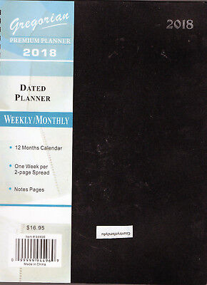 "2018 BLACK SPIRAL LARGE 11X9"" Premim PLANNER Calendar Weekly/Monthly LINED Map"