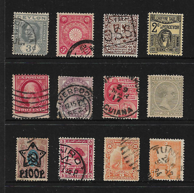 old stamps world 12 stamps various countries incl Africa, Russia, Phillipines
