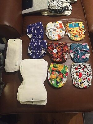 GlowBug Cloth Diapers. 2017 package. 2 hook and loop / 6 snap / mr clock