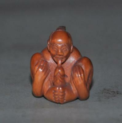 Japanese handwork boxwood ojime bead carving Man