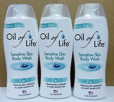 3 Oil Of Life Sensitive Skin Body Wash Bonus Size 15 Fl Oz ea NEW!