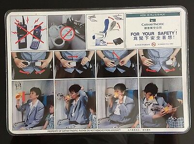 Safety card on board CONSIGNE de SECURITE Airbus A330 B-HLJ B-HLK Cathay Pacific