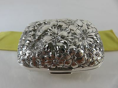 Gorham Sterling Silver Floral Repousse Soap Box, No Monogram, c1893