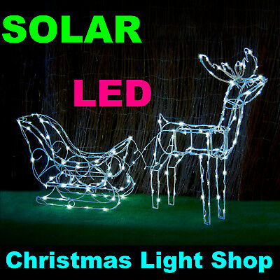 SOLAR 3D Deer Reindeer Sleigh WHITE LED Fairy Lights Outdoor Christmas Display