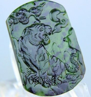 Natural chinese black green Jadeite jade pendant necklace hand-carved tiger