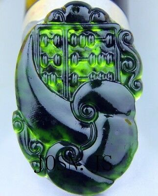 Natural chinese black green Jadeite jade pendant necklace hand-carved ruyi AAAA