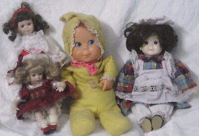 """Baby Dolls ((Lot Of 4)) -10"""" W Tag & 16""""  12"""", 7"""" Estate Find Doll Vintage Rare"""