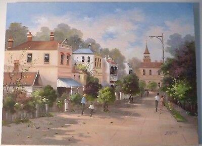 Original oil painting of an old street scene by QLD artist Pam Lethlean