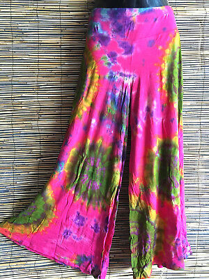 Lot of 4 TIE DYE FLARES.SPANDEX TOP QUALITY.1 fit.Boho Hippie fashion.Wholesale