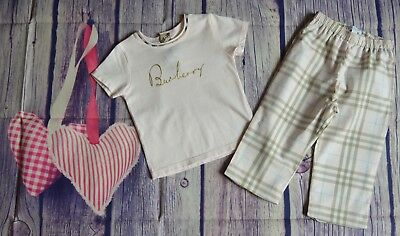 Burberry Baby Girls Designer Clothes Bundle Pink T-shirt Check Pants Immaculate
