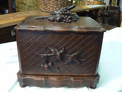 Fabulous 19Th Century French Oak Black Forest Hand Carved Tantalus Liquor Box