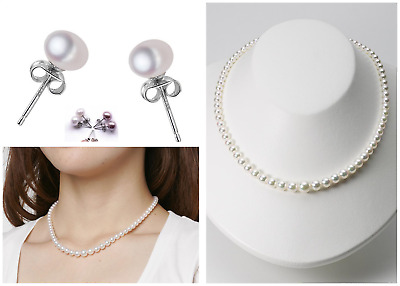 Classic Freshwater Pearl Sterling Silver Necklace & Earrings Handmade in Kent