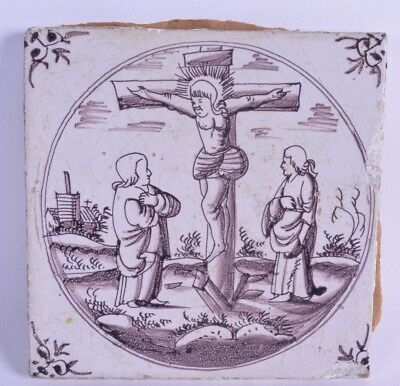 unusual 18th c puce pottery tile continental depicting crucifixion of jesus
