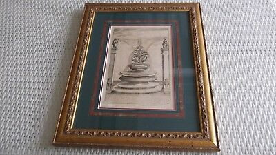 Lithograph water fountain ornate decorative frame p/up GC - from Treasury Casino