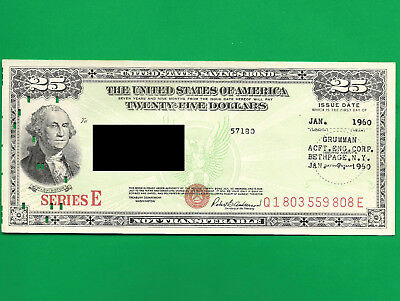 U S savings bonds $25.00 DEC 1960 Q1803559808E SERIES E RED SEAL