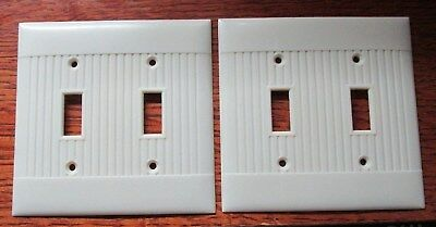 Vintage Sierra Electric Light Switch Plate Covers Ribbed Set of 2 Double Toggle