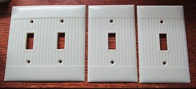 Vintage Bakelite Sierra Electric Light Switch Plate Covers Ribbed Set of 3