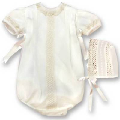 Spanish Baby Boy Girl Clothing Romper Christening Outfit with Bonnet 6m