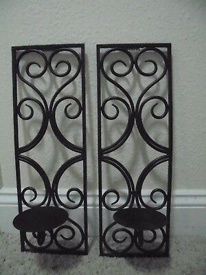 "Pair ""wrought' Iron Metal Wall Pillar Candle Holders Ornate Brown-Black Decor"