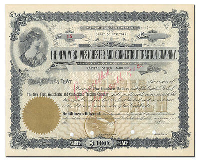 New York, Westchester and Connecticut Traction Company Stock Certificate