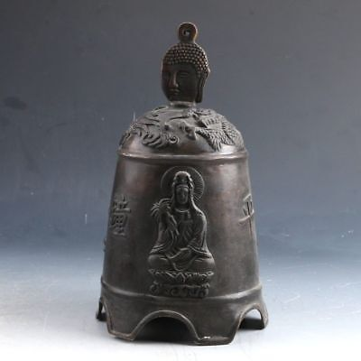 Exquisite Copper Handwork Carved Kwan-yin Bell PJ803