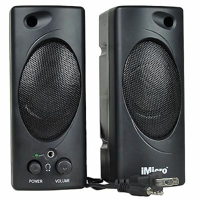 iMicro SP-IMD693 2-piece 3.5mm Computer Speakers with Headphone Jack (Black) NEW