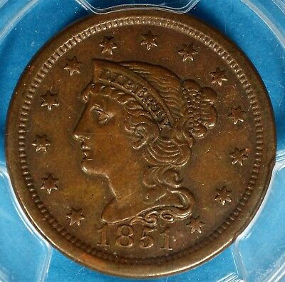 1851 Braided Hair Large Cent PCGS XF45- Nice Patina, Eye Appeal