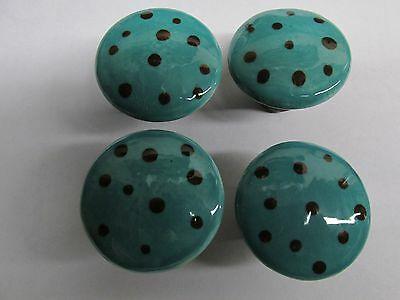Vintage 4 Porcelain/Ceramic Drawer/Cabinet Door Knobs/Pulls~Turquoise & Brown