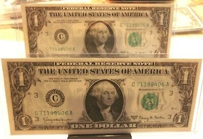 1963 A $1 Fowler Frn Notes Two Consecutive Mint Crisp Uncirculated Rare Must See