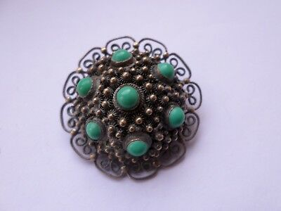 Vintage sterling silver dome shaped brooch set with blue glass beads 12.7 grams