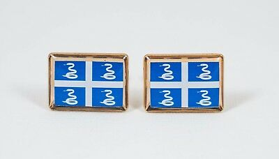Martinique Flag Cufflinks--Martiniquan Island Caribbean French