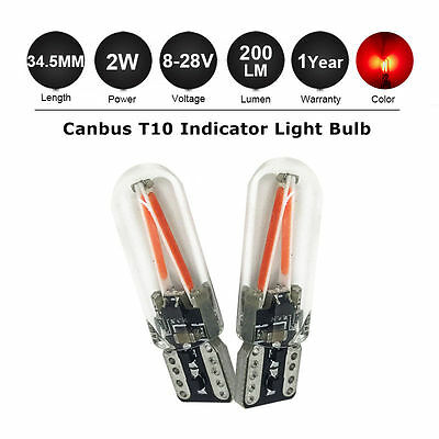 2 x T10 W5W CANBUS Glass LED Light License Plate Wedge Bulb Lamp DC9-28V Red 501