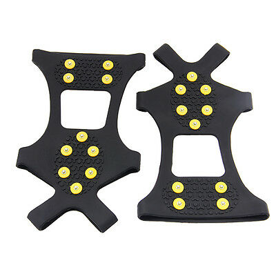 1Pair 10-Teeth Ice Snow Shoe Spikes Grips Crampons Cleats for hiking campingM/L