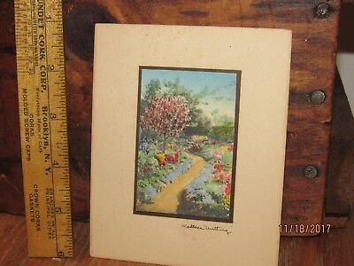 Vintage Miniature Wallace Nutting Signed Hand Colored Garden Scene unframed #2
