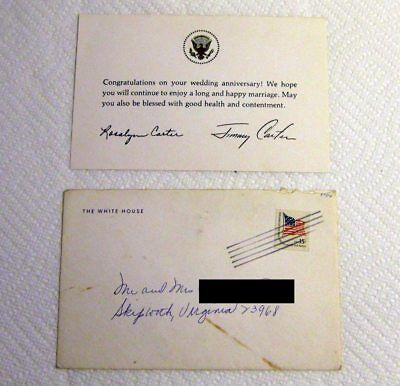 White house president jimmy carter christmas card 1980 1699 picclick 1980 wedding anniversary card from jimmy carter rosalyn white house envelope m4hsunfo Images