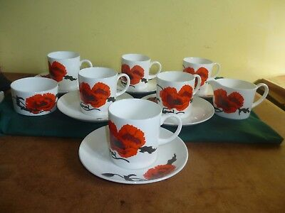 Wedgwood Susie Cooper  Six Coffee Cups and Saucers Corn Poppy+milk jug and sugar