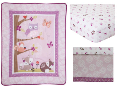 Lambs and Ivy Bedtime Originals Lavender Woods 3 Piece Crib Bedding Set