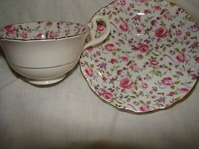 Radford's bone china teacup and saucer, rose design, made in England