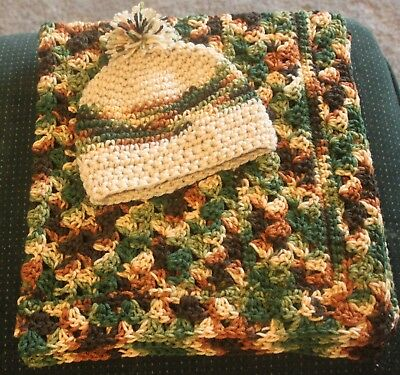 Multi Color Brown and Green Camo Hand Crochet Baby Blanket w/ cap