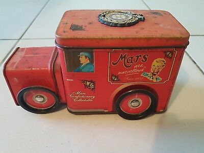 Vintage collectable Mars Confectionary tin with moving wheels/ rotary