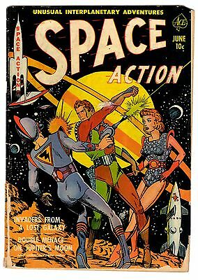 Space Action Comic Book #1 No. 1  1952 Fist Issue Ace Junior Books Sexy Sci-Fi
