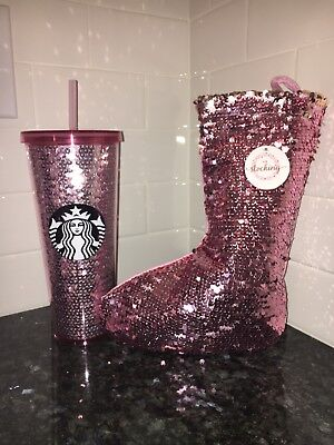 Starbucks 2017 Holiday Sequin Tumbler Rose Gold Pink with Matching Stocking