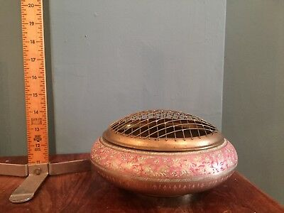 Antique Indian Brass Enamel Vase Potpourri Incense