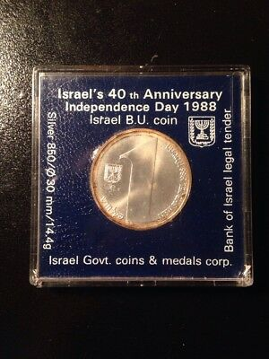 1988 Israel One Sheqel 40th Anniversary Of Independence Silver Coin Uncirculated