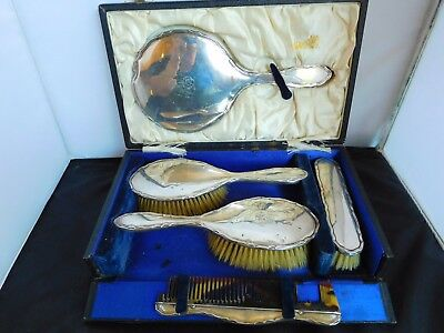 Cased 5 Piece English Sterling Silver Grooming / Dressing Table / Vanity Set